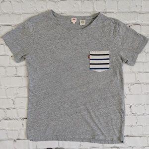 Levi's Tops - Levi's Grey Striped Pocket Short Sleeve Tee